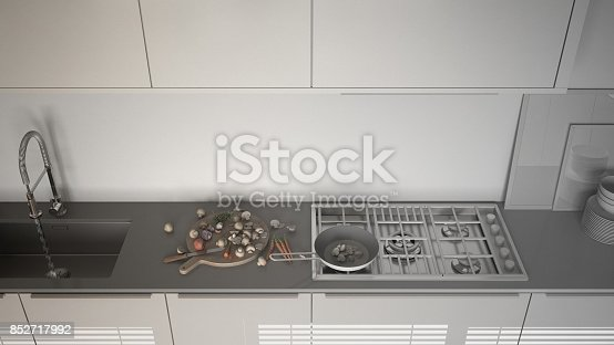istock Unfinished project of modern kitchen with sink and stove, cooking pan and food, close-up, top view,  minimalist interior design 852717992