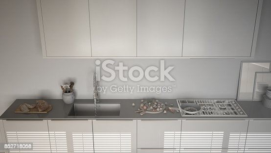 istock Unfinished project of modern kitchen with sink and stove, cooking pan and food, close-up, top view,  minimalist interior design 852718058