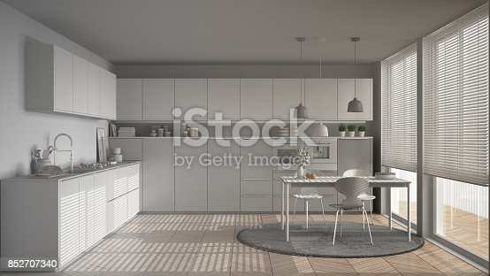 istock Unfinished project of modern kitchen with table and chairs, big windows and herringbone parquet floor, white minimalist interior design 852707340