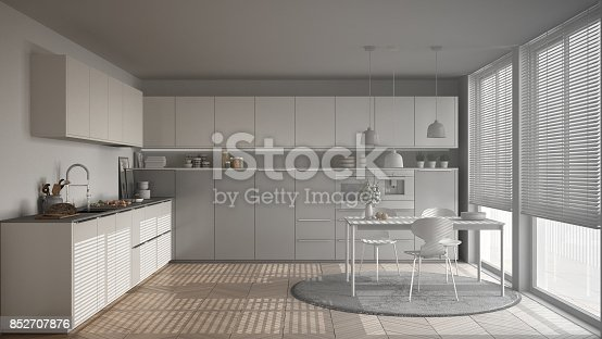 istock Unfinished project of modern kitchen with table and chairs, big windows and herringbone parquet floor, white minimalist interior design 852707876