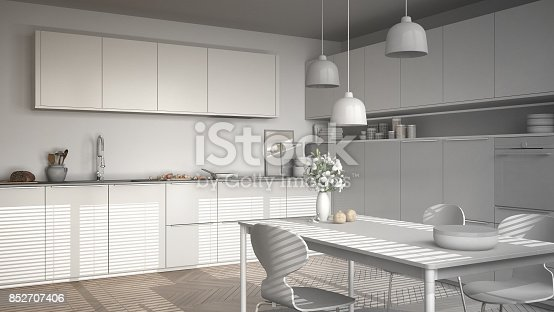 istock Unfinished project of modern kitchen with table and chairs, herringbone parquet floor, white minimalist interior design 852707406