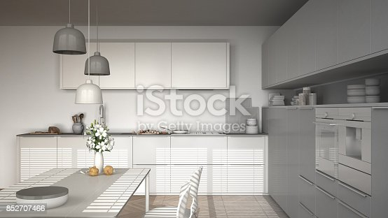 istock Unfinished project of modern kitchen with table and chairs, herringbone parquet floor, white minimalist interior design 852707466