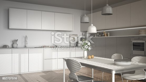 istock Unfinished project of modern kitchen with table and chairs, herringbone parquet floor, white minimalist interior design 852707516