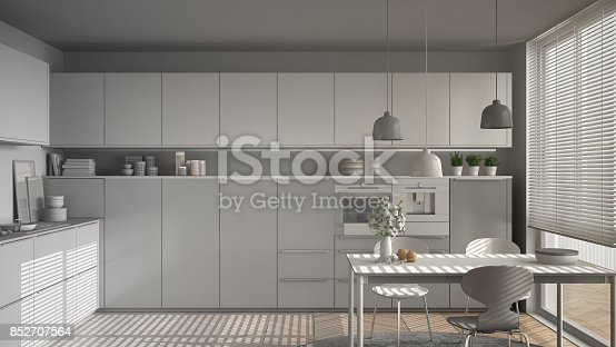 istock Unfinished project of modern kitchen with table and chairs, herringbone parquet floor, white minimalist interior design 852707564