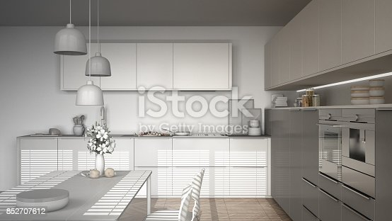 istock Unfinished project of modern kitchen with table and chairs, herringbone parquet floor, white minimalist interior design 852707612