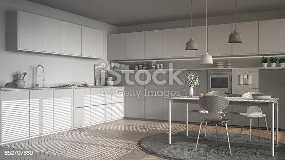 istock Unfinished project of modern kitchen with table and chairs, herringbone parquet floor, white minimalist interior design 852707660