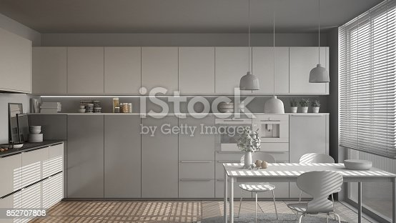 istock Unfinished project of modern kitchen with table and chairs, herringbone parquet floor, white minimalist interior design 852707808