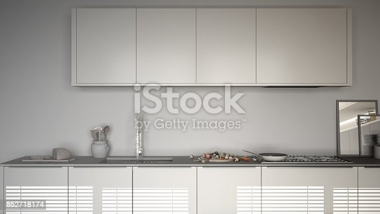 istock Unfinished project of modern kitchen with table and chairs, herringbone parquet floor, white minimalist interior design 852718174