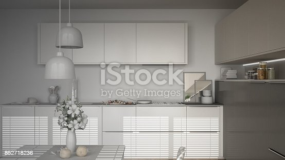 istock Unfinished project of modern kitchen with table and chairs, herringbone parquet floor, white minimalist interior design 852718236