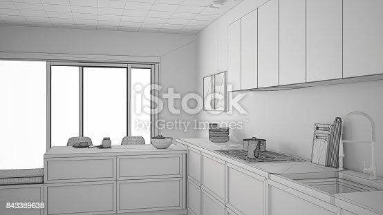 istock Unfinished project of modern kitchen with wooden details and parquet floor, healthy breakfast, minimalist interior design 843389638