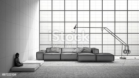 820899008 istock photo Unfinished project of modern living with sofa, carpet and big window, sketch abstract interior design 697222104