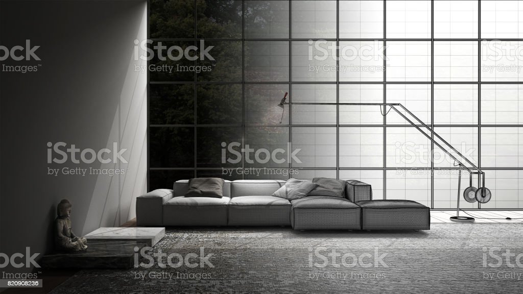 Unfinished Project Of Modern Living With Sofa Carpet And Big Window Sketch Abstract Interior Design Stock Photo Download Image Now Istock