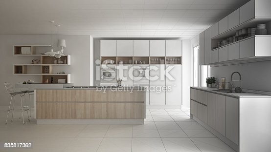 820896232 istock photo Unfinished project of modern scandinavian kitchen, sketch abstract interior design 835817362