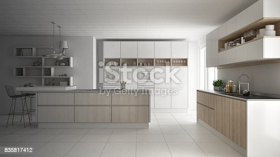 820896232 istock photo Unfinished project of modern scandinavian kitchen, sketch abstract interior design 835817412