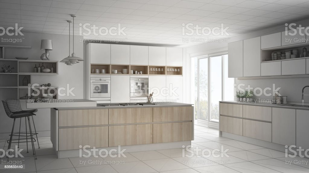Unfinished Project Of Modern Scandinavian Kitchen Sketch Abstract Interior Design Stock Photo Download Image Now Istock