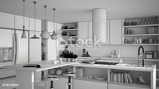 894638730 istock photo Unfinished project of modern wooden kitchen with wooden details, close up, island with stools, minimalistic interior design 876018900
