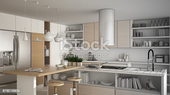 894638730 istock photo Unfinished project of modern wooden kitchen with wooden details, close up, island with stools, minimalistic interior design 876018920
