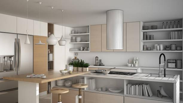 unvollendetes projekt der moderne holzküche mit holzelementen, nahaufnahme, insel mit hockern, minimalistisches interieur design - küche italienisch gestalten stock-fotos und bilder