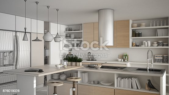 894638730 istock photo Unfinished project of modern wooden kitchen with wooden details, close up, island with stools, minimalistic interior design 876019026