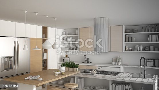 894638730 istock photo Unfinished project of modern wooden kitchen with wooden details, close up, island and gas stove with cooking pan, white minimalistic interior design 876022354