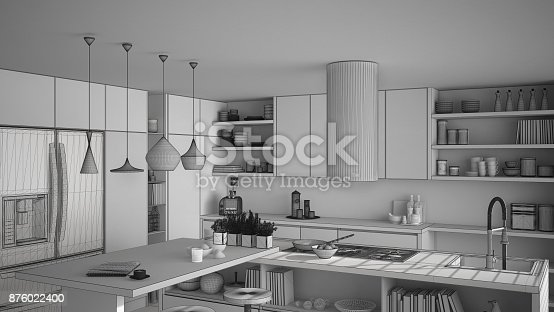 894638730 istock photo Unfinished project of modern wooden kitchen with wooden details, close up, island and gas stove with cooking pan, white minimalistic interior design 876022400