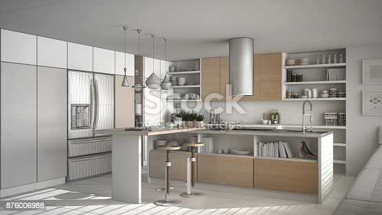 894638730 istock photo Unfinished project of of modern wooden kitchen with wooden details, white minimalistic interior design 876006988