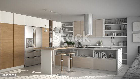 894638730 istock photo Unfinished project of of modern wooden kitchen with wooden details, white minimalistic interior design 876007022