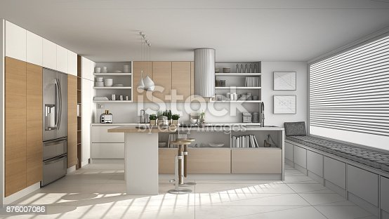894638730 istock photo Unfinished project of of modern wooden kitchen with wooden details and panoramic window, white minimalistic interior design 876007086