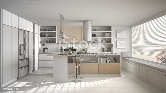894638730 istock photo Unfinished project of of modern wooden kitchen with wooden details and panoramic window, white minimalistic interior design 876007118