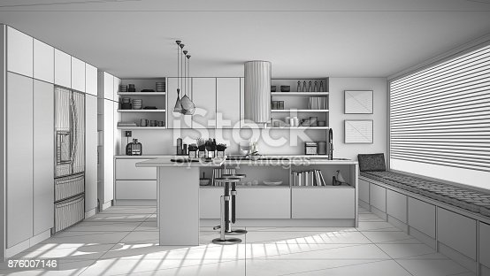 894638730 istock photo Unfinished project of of modern wooden kitchen with wooden details and panoramic window, white minimalistic interior design 876007146