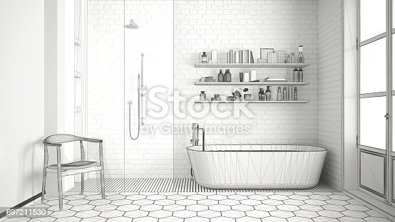 820899828istockphoto Unfinished project of scandinavian classic vintage bathroom, sketch abstract interior design 697211530