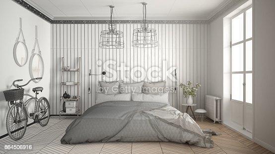 istock Unfinished project of scandinavian minimalist bedroom with big window and herringbone parquet, architecture interior design 864506916