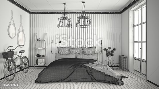 istock Unfinished project of scandinavian minimalist bedroom with big window and herringbone parquet, architecture interior design 864506974