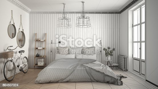 820899828istockphoto Unfinished project of scandinavian minimalist bedroom with big window and herringbone parquet, architecture interior design 864507024