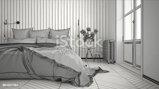 820899828istockphoto Unfinished project of scandinavian minimalist bedroom with big window and herringbone parquet, architecture interior design, close-up 864507064
