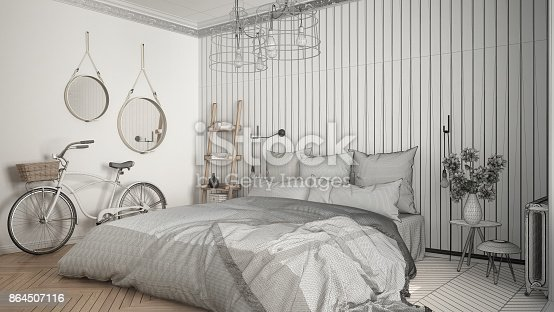 istock Unfinished project of scandinavian minimalist bedroom with big window and herringbone parquet, architecture interior design, close-up 864507116