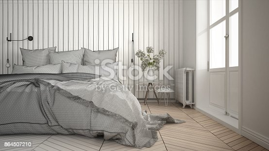 istock Unfinished project of scandinavian minimalist bedroom with big window and herringbone parquet, architecture interior design, close-up 864507210