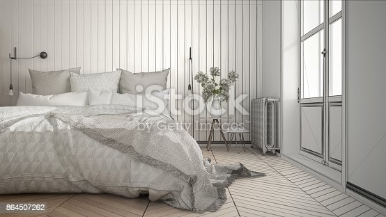 istock Unfinished project of scandinavian minimalist bedroom with big window and herringbone parquet, architecture interior design, close-up 864507262