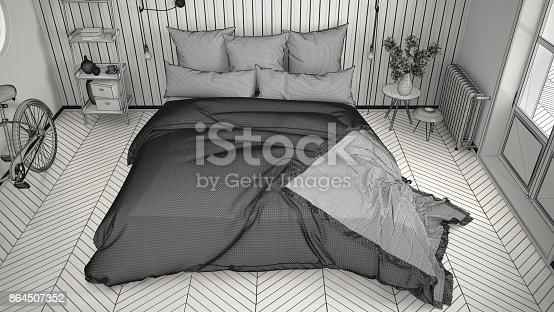 istock Unfinished project of scandinavian minimalist bedroom with big window and herringbone parquet, architecture interior design, top view 864507352