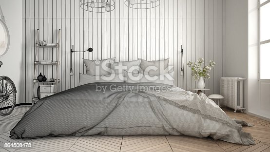 istock Unfinished project of scandinavian minimalist bedroom with big window and herringbone parquet, architecture interior design, close-up 864508478