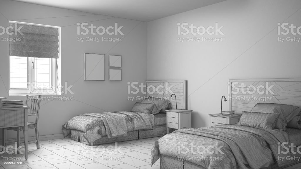 Unfinished Project Of Scandinavian Vintage Bedroom With Two Beds Sketch Abstract Interior Design Stock Photo Download Image Now Istock