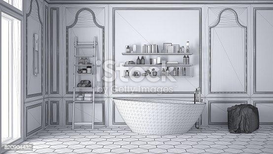 820899828istockphoto Unfinished project of white scandinavian bathroom, sketch abstract interior design 820904432