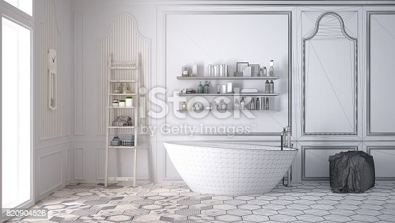 820899828istockphoto Unfinished project of white scandinavian bathroom, sketch abstract interior design 820904526