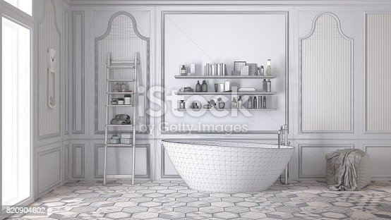 820899828istockphoto Unfinished project of white scandinavian bathroom, sketch abstract interior design 820904602
