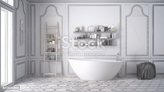 820899828istockphoto Unfinished project of white scandinavian bathroom, sketch abstract interior design 820904894
