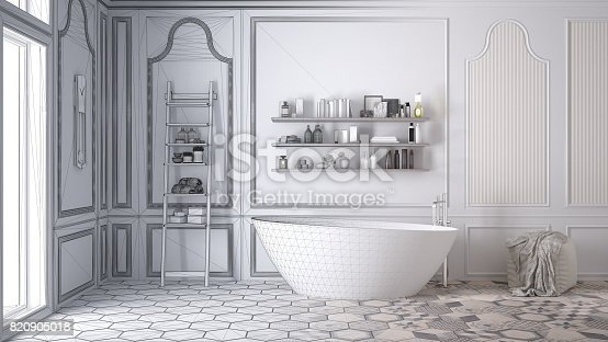 820899828istockphoto Unfinished project of white scandinavian bathroom, sketch abstract interior design 820905018