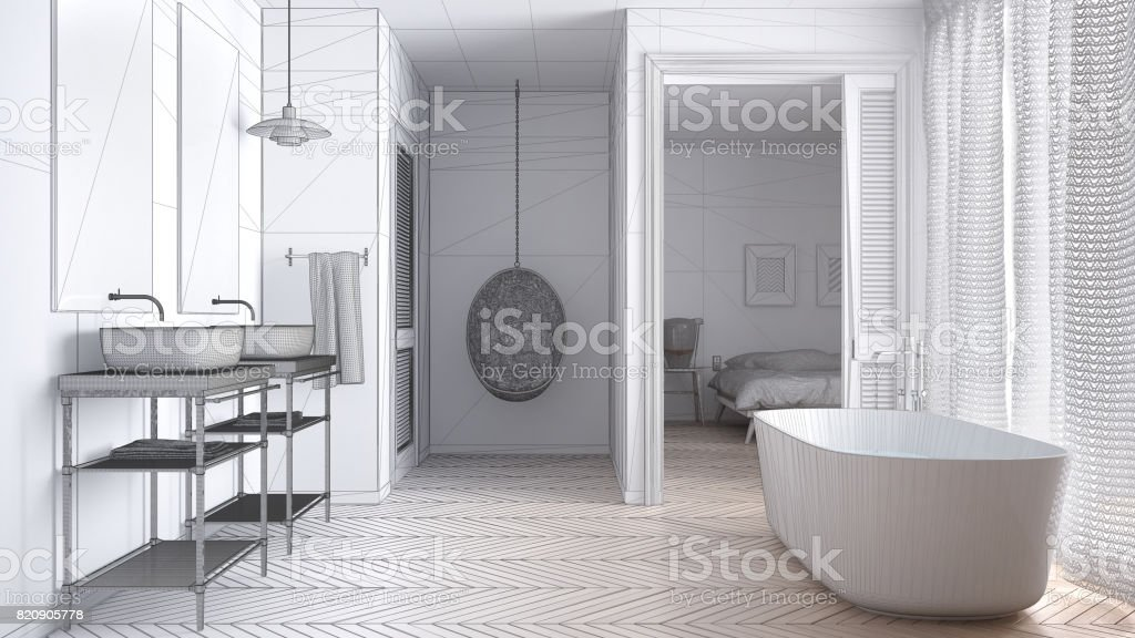 Unfinished project of white scandinavian bathroom with bedroom in background, sketch abstract interior design stock photo