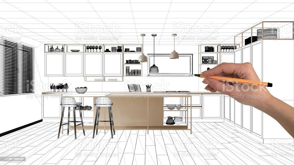 Unfinished Project Under Construction Draft Concept Interior Design Sketch Hand Drawing Real Kitchen Sketch With Blueprint Background Architect And Designer Idea Stock Photo Download Image Now Istock