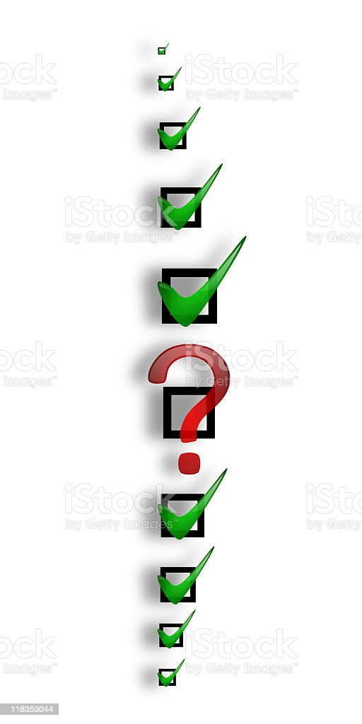 unfinished quality control checklist royalty-free stock photo
