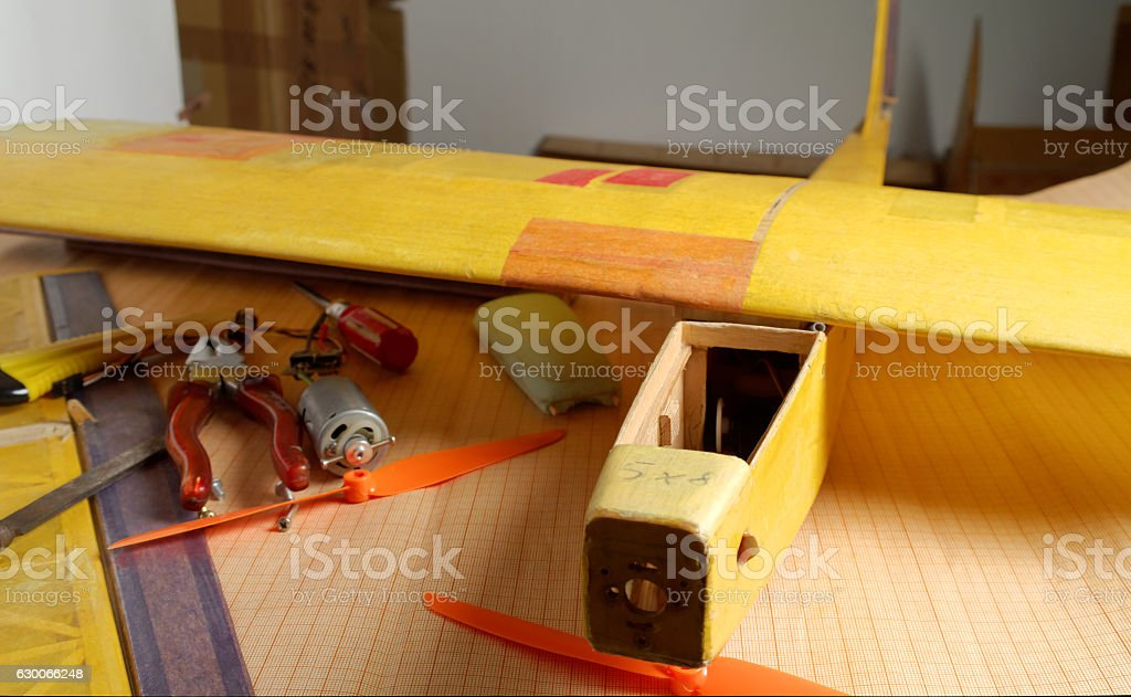 unfinished RD airplane stock photo